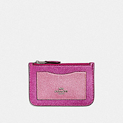 COACH F37571 Zip Top Card Case METALLIC CERISE/SILVER