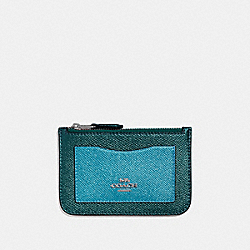 COACH F37571 Zip Top Card Case METALLIC EMERALD/SILVER