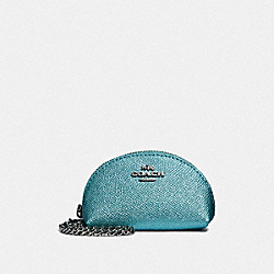 COACH F37572 - HALF MOON COIN CASE BLUE/SILVER