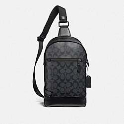 COACH F37573 Graham Pack In Signature Canvas CHARCOAL/BLACK/BLACK ANTIQUE NICKEL