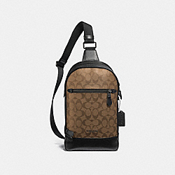 COACH F37573 - GRAHAM PACK IN SIGNATURE CANVAS TAN/BLACK ANTIQUE NICKEL