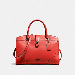 COACH MERCER SATCHEL 30 IN GRAIN LEATHER - DARK GUNMETAL/DEEP CORAL - F37575