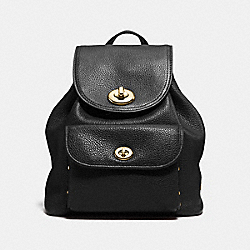 COACH F37581 Mini Turnlock Rucksack In Polished Pebble Leather LIGHT GOLD/BLACK