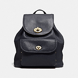 COACH F37581 - MINI TURNLOCK RUCKSACK IN POLISHED PEBBLE LEATHER LIGHT GOLD/NAVY