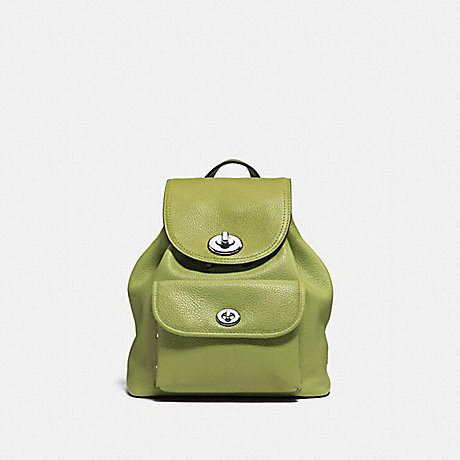COACH f37581 MINI TURNLOCK RUCKSACK SILVER/CITRINE
