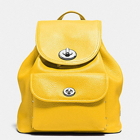COACH f37581 MINI TURNLOCK RUCKSACK IN PEBBLE LEATHER SILVER/CANARY