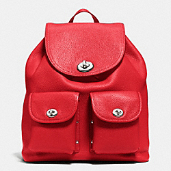 COACH F37582 Turnlock Rucksack In Polished Pebble Leather SILVER/TRUE RED