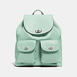 COACH F37582 Turnlock Rucksack In Polished Pebble Leather SILVER/SEAGLASS