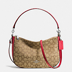 COACH F37584 - CHELSEA CROSSBODY IN SIGNATURE JACQUARD SILVER/KHAKI/TRUE RED