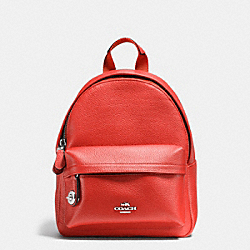 COACH F37590 Mini Campus Backpack In Pebble Leather SILVER/CARMINE