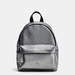 COACH F37590 Mini Campus Backpack In Pebble Leather SILVER/SILVER