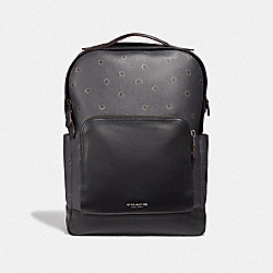 COACH F37592 - GRAHAM BACKPACK WITH SPIKEY DIAMOND PRINT MIDNIGHT NAVY MULTI/BLACK ANTIQUE NICKEL