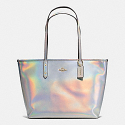 CITY ZIP TOTE IN HOLOGRAM LEATHER - f37596 - IMITATION GOLD/SILVER HOLOGRAM
