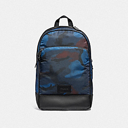 SLIM BACKPACK WITH HALFTONE CAMO PRINT - COACH F37607 - BLUE MULTI/BLACK ANTIQUE NICKEL
