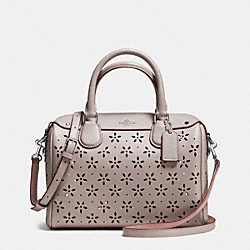 COACH F37619 - MINI BENNETT SATCHEL IN LASER CUT LEATHER  SILVER/GREY BIRCH GLITTER