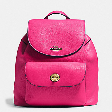 cafbe82a0e8b4 COACH f37621 MINI BILLIE BACKPACK IN PEBBLE LEATHER IMITATION GOLD PINK RUBY