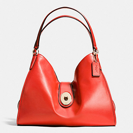COACH f37637 CARLYLE SHOULDER BAG IN SMOOTH LEATHER IMITATION GOLD/CARMINE