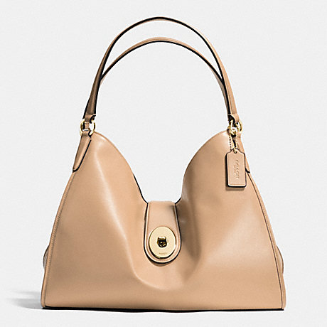 COACH F37637 CARLYLE SHOULDER BAG IN SMOOTH LEATHER IMITATION-GOLD/BEECHWOOD