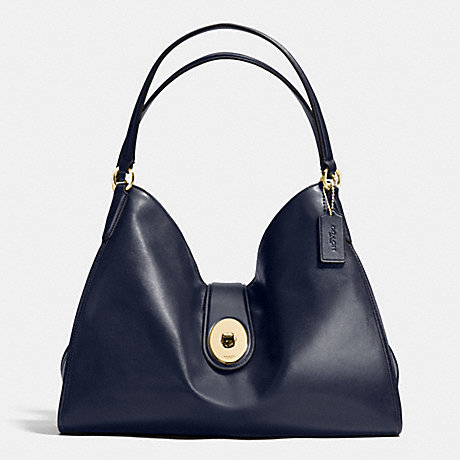 COACH F37637 CARLYLE SHOULDER BAG IN SMOOTH LEATHER IMITATION-GOLD/MIDNIGHT