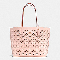 COACH F37650 - CITY TOTE IN LASER CUT LEATHER  IMITATION GOLD/PEACH ROSE GLITTER