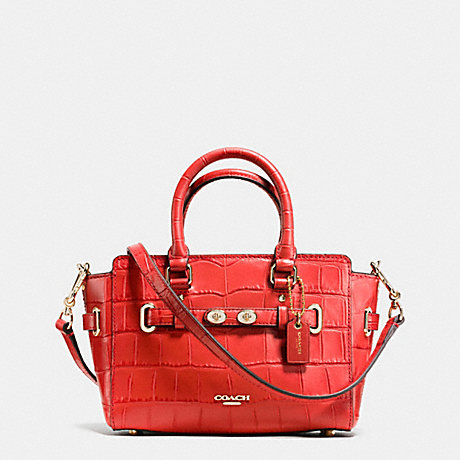 COACH f37665 MINI BLAKE CARRYALL IN CROC EMBOSSED LEATHER IMITATION GOLD/CARMINE