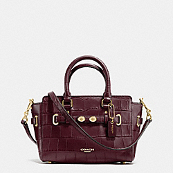 MINI BLAKE CARRYALL IN CROC EMBOSSED LEATHER - f37665 - IMITATION GOLD/OXBLOOD