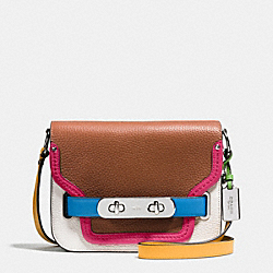 COACH F37691 - COACH SWAGGER SHOULDER BAG IN RAINBOW COLORBLOCK LEATHER SILVER/SADDLE MULTI