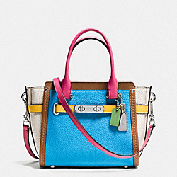 COACH F37694 - COACH SWAGGER 21 CARRYALL IN RAINBOW COLORBLOCK LEATHER SILVER/AZURE MULTI