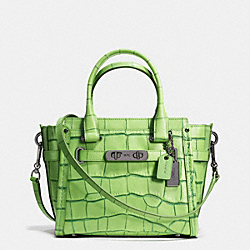 COACH SWAGGER 21 IN CONTRAST EXOTIC EMBOSSED LEATHER - f37698 - DARK GUNMETAL/PISTACHIO