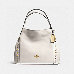 COACH F37700 - EDIE SHOULDER BAG 31 WITH FLORAL RIVETS CHALK/LIGHT GOLD