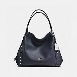 COACH EDIE SHOULDER BAG 31 IN FLORAL RIVETS LEATHER - SILVER/NAVY/BLACK - F37700