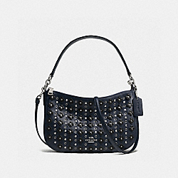 COACH F37702 Chelsea Crossbody In Floral Rivets Leather SILVER/NAVY/BLACK