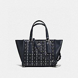 MINI CROSBY CARRYALL IN FLORAL RIVETS LEATHER - f37703 - SILVER/NAVY/BLACK