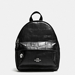 COACH F37713 Mini Campus Backpack In Croc Embossed Leather SILVER/BLACK