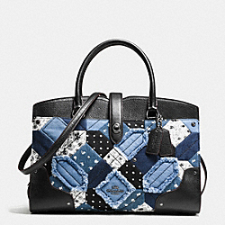 MERCER SATCHEL IN CANYON QUILT DENIM - f37730 - DARK GUNMETAL/DENIM SKULL PRINT