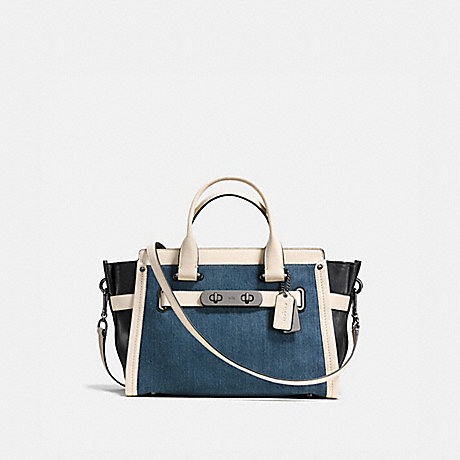 COACH F37731 COACH SOFT SWAGGER IN COLORBLOCK DENIM/WHITE/DARK-GUNMETAL