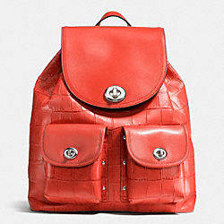 COACH F37736 Turnlock Rucksack In Croc Embossed Leather SILVER/CARMINE