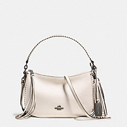 COACH FRINGE CHELSEA CROSSBODY IN PEBBLE LEATHER - DARK GUNMETAL/CHALK - F37740