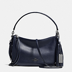 FRINGE CHELSEA CROSSBODY IN PEBBLE LEATHER - f37740 - DARK GUNMETAL/NAVY