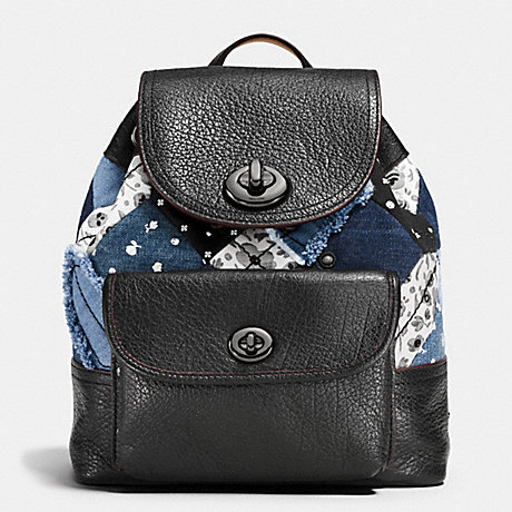MINI TURNLOCK RUCKSACK IN CANYON QUILT DENIM - COACH F37743 - DARK GUNMETAL/DENIM SKULL PRINT