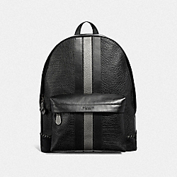 CHARLES BACKPACK WITH BASEBALL STITCH - F37749 - BLACK/BLACK ANTIQUE NICKEL