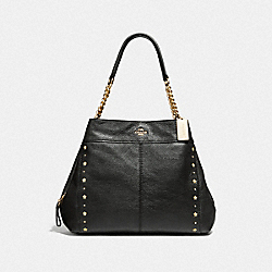 COACH F37753 - LEXY CHAIN SHOULDER BAG WITH FLORAL RIVETS BLACK/LIGHT GOLD