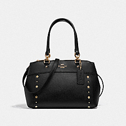 COACH F37754 - MINI BROOKE CARRYALL WITH FLORAL RIVETS BLACK/LIGHT GOLD