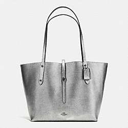 MARKET TOTE IN PEBBLE LEATHER - f37756 - DARK GUNMETAL/SILVER/BLACK
