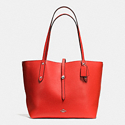 COACH F37756 Market Tote In Pebble Leather SILVER/CARMINE/SADDLE