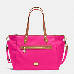 COACH F37758 Sawyer Baby Bag In Polyester Twill IMITATION GOLD/PINK RUBY