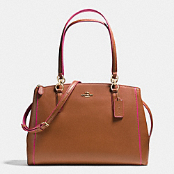 CHRISTIE CARRYALL IN EDGEPAINT CROSSGRAIN LEATHER - f37764 - IMITATION GOLD/SADDLE/DAHLIA