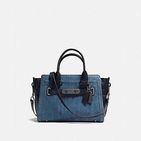 COACH F37772 COACH SOFT SWAGGER 27 IN COLORBLOCK DENIM/NAVY/DARK-GUNMETAL