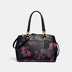 COACH F37774 - MINI BROOKE CARRYALL WITH HALFTONE FLORAL PRINT BLACK/WINE/LIGHT GOLD