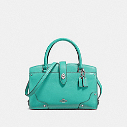 COACH F37779 - MERCER SATCHEL 24 IN GRAIN LEATHER SILVER/AQUA